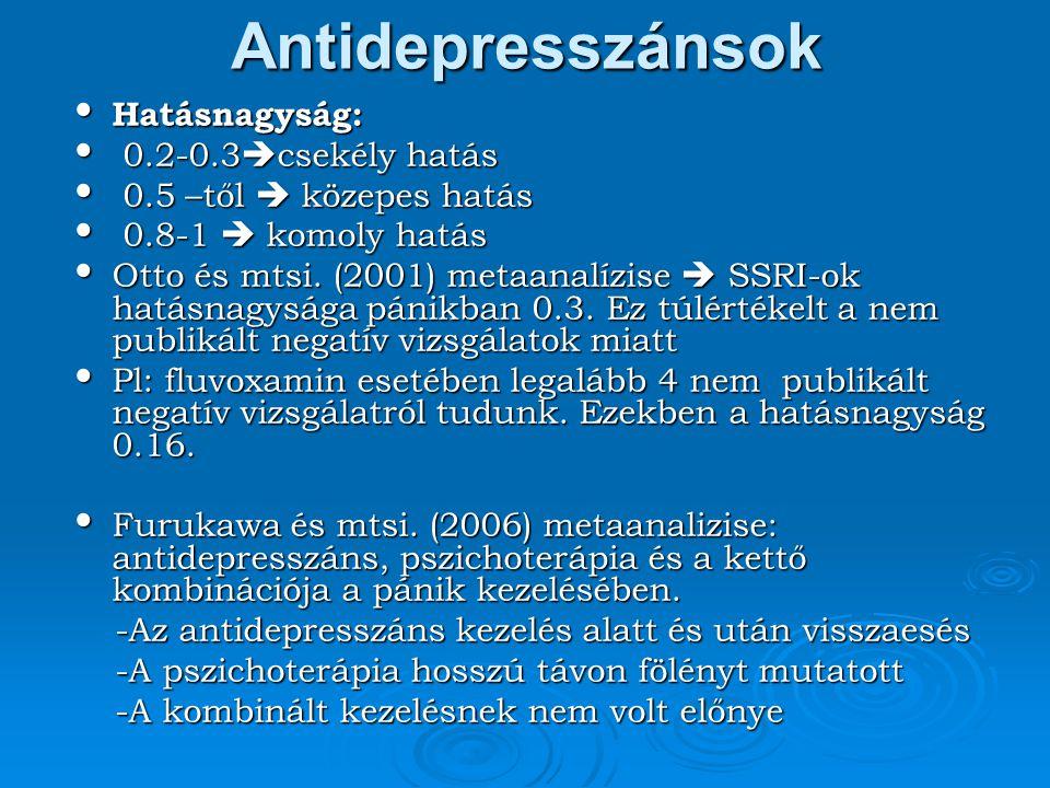 Antidepresszánsok Hatásnagyság: 0.2-0.3csekély hatás