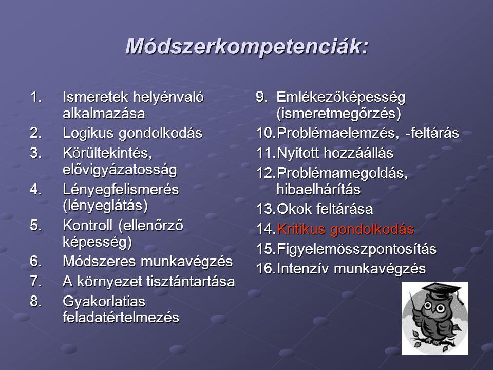 Módszerkompetenciák: