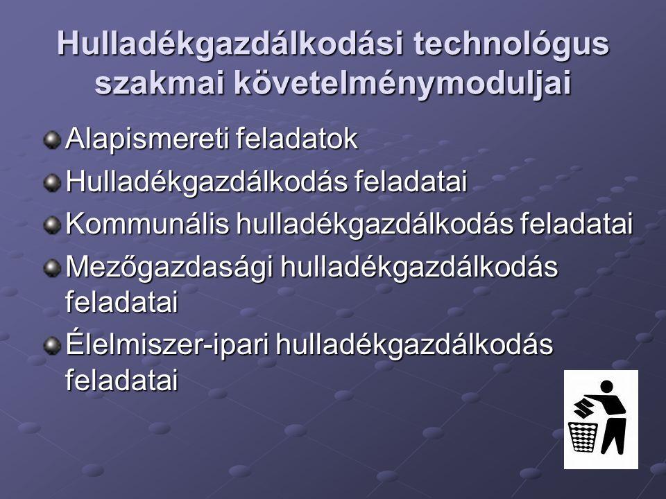 Hulladékgazdálkodási technológus szakmai követelménymoduljai