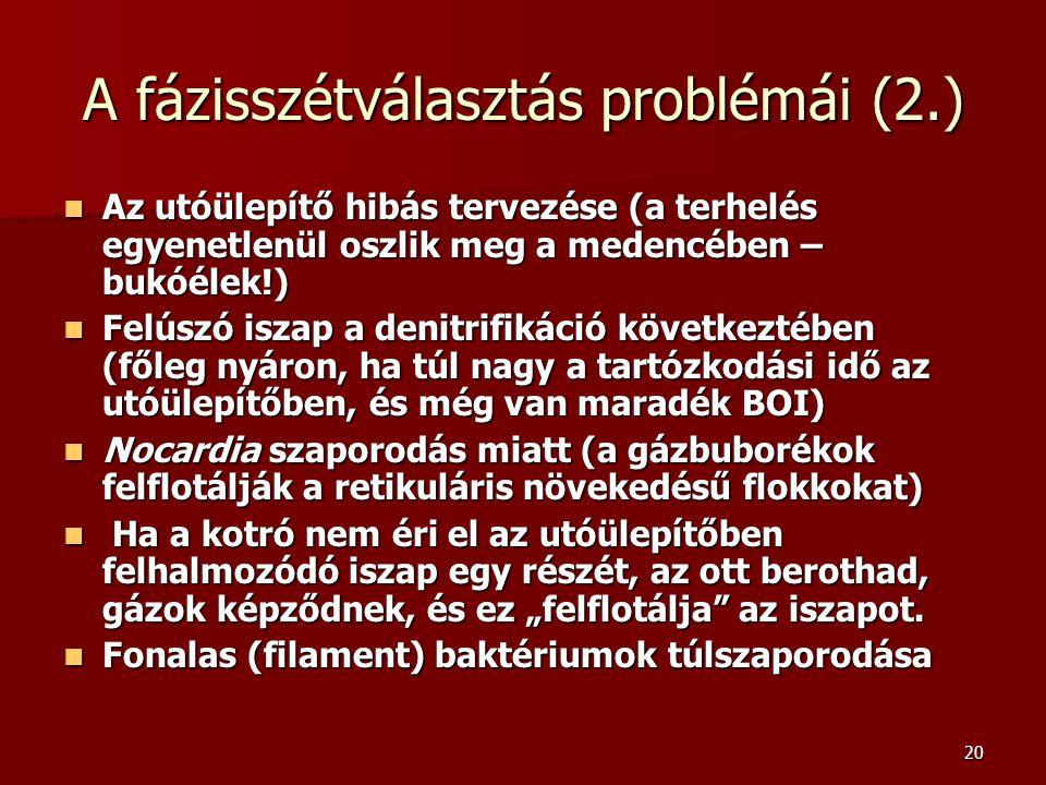 A fázisszétválasztás problémái (2.)