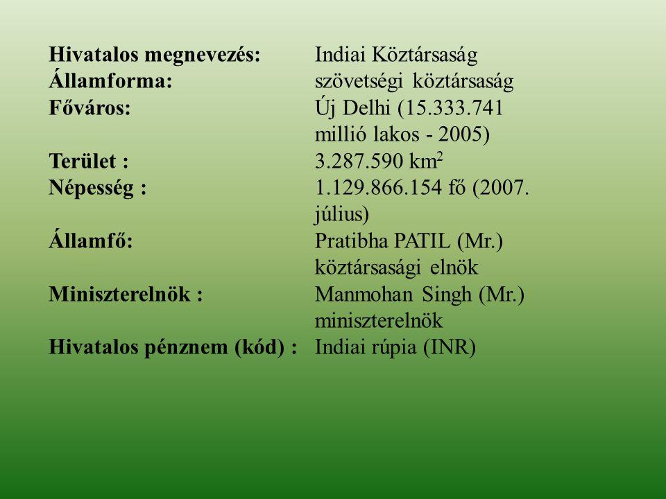 Hivatalos megnevezés: Indiai Köztársaság