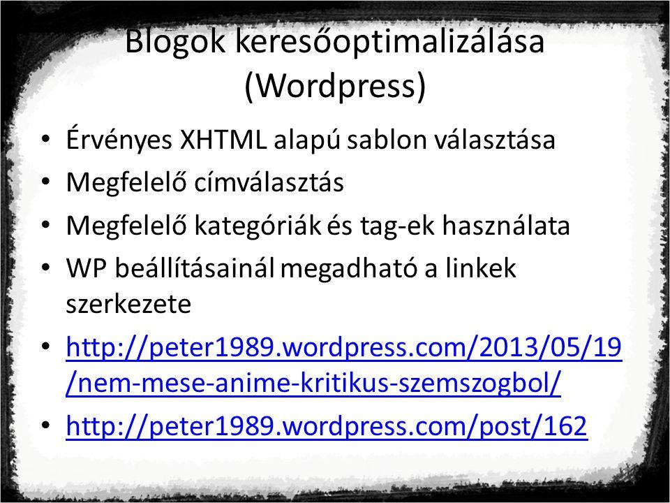 Blogok keresőoptimalizálása (Wordpress)