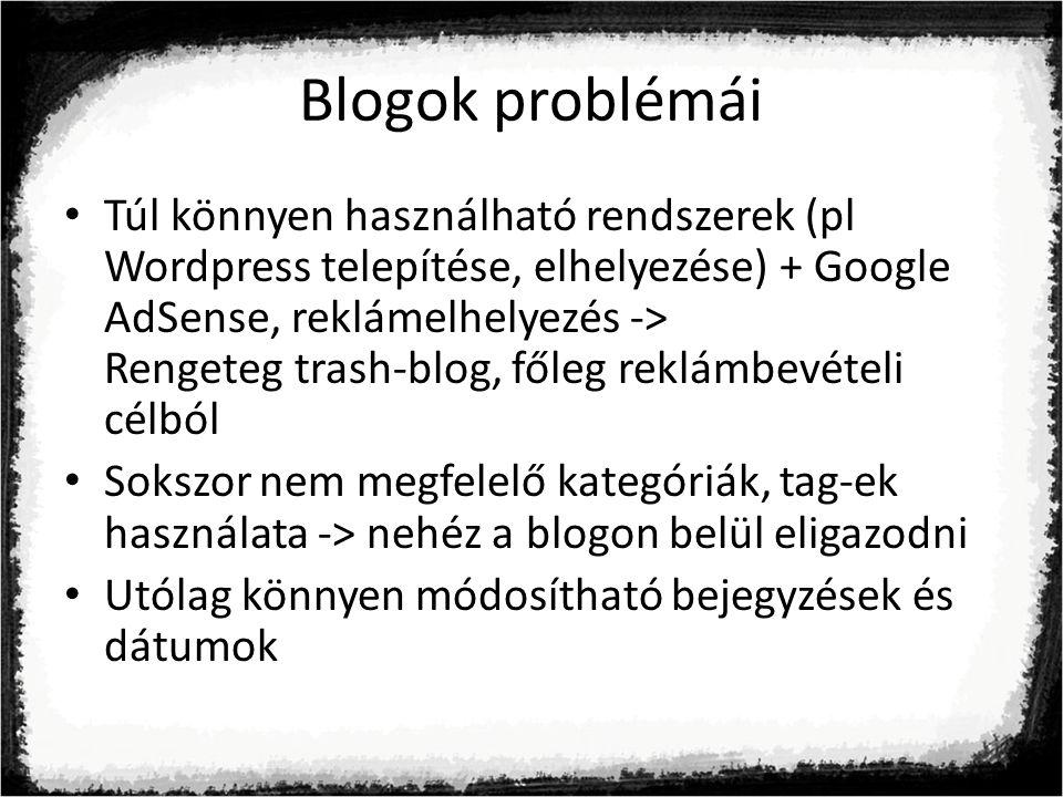 Blogok problémái