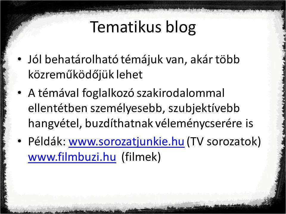 Tematikus blog Jól behatárolható témájuk van, akár több közreműködőjük lehet.