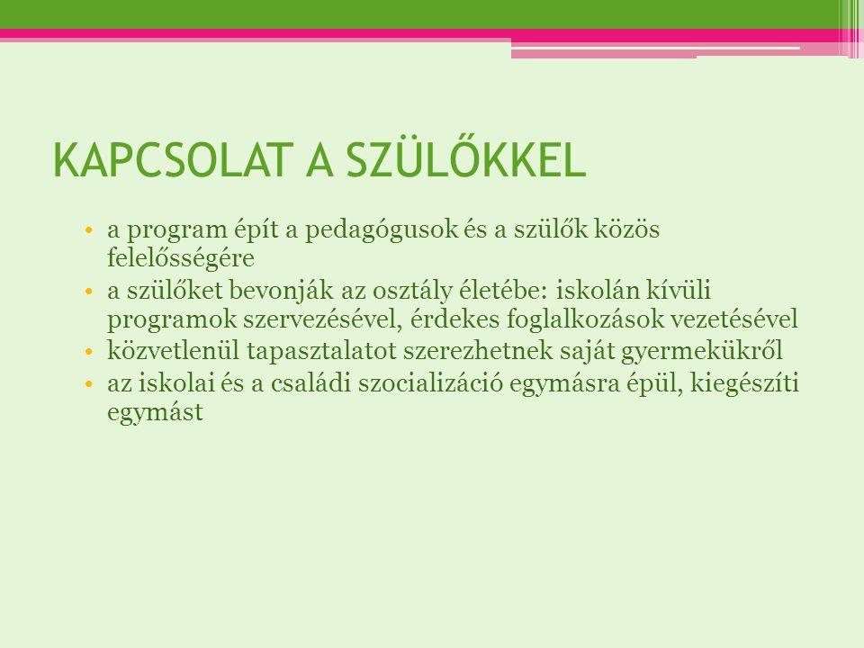 KAPCSOLAT A SZÜLŐKKEL a program épít a pedagógusok és a szülők közös felelősségére.
