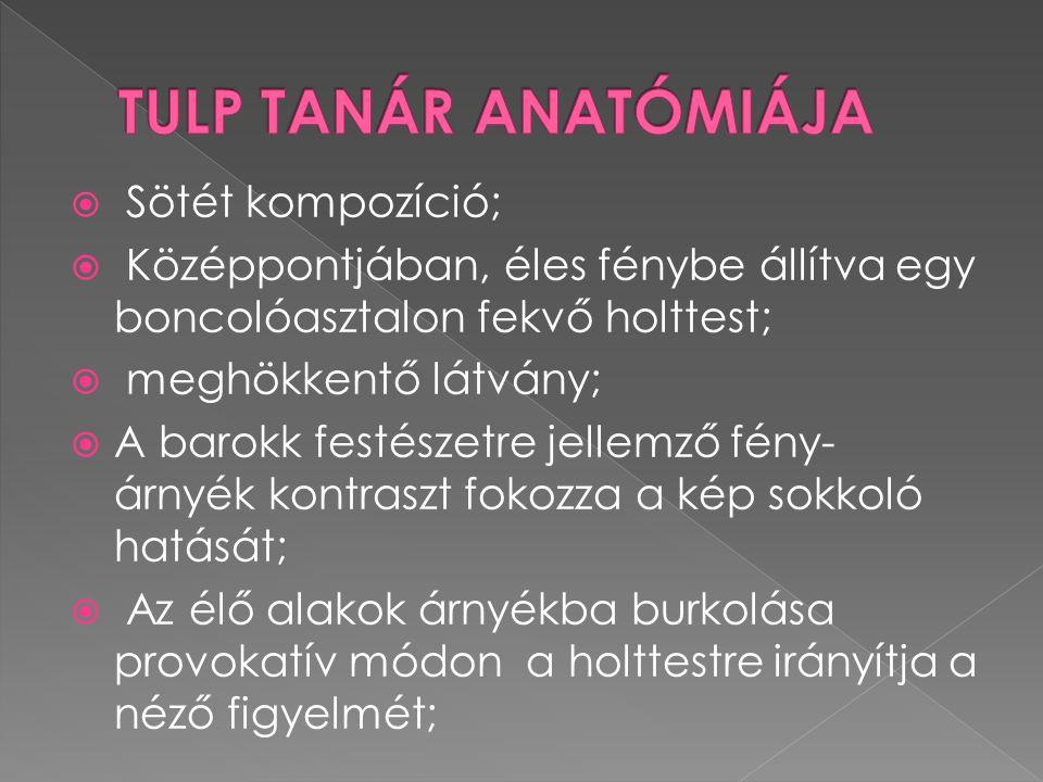 TULP TANÁR ANATÓMIÁJA Sötét kompozíció;