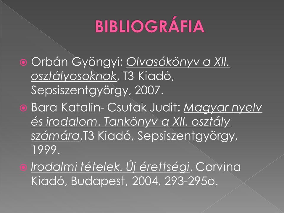 BIBLIOGRÁFIA Orbán Gyöngyi: Olvasókönyv a XII. osztályosoknak, T3 Kiadó, Sepsiszentgyörgy, 2007.