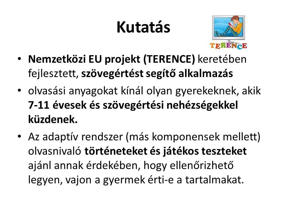 Kutatás Nemzetközi EU projekt (TERENCE) keretében fejlesztett, szövegértést segítő alkalmazás.