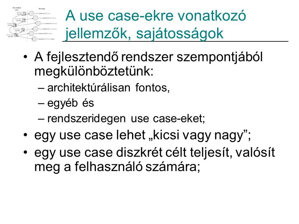 A use case-ekre vonatkozó jellemzők, sajátosságok