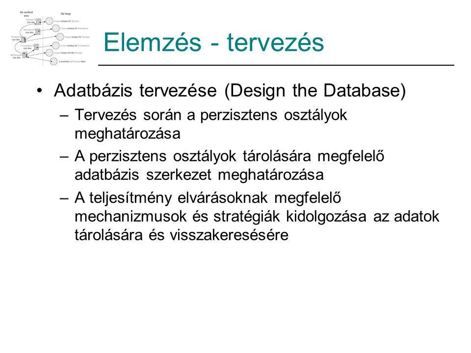 Elemzés - tervezés Adatbázis tervezése (Design the Database)