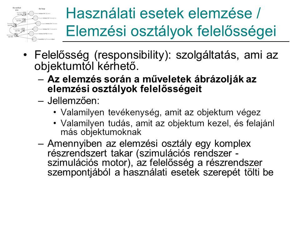 Használati esetek elemzése / Elemzési osztályok felelősségei