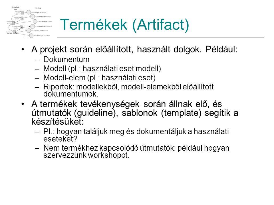 Termékek (Artifact) A projekt során előállított, használt dolgok. Például: Dokumentum. Modell (pl.: használati eset modell)
