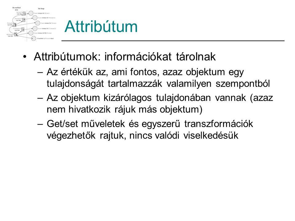 Attribútum Attribútumok: információkat tárolnak