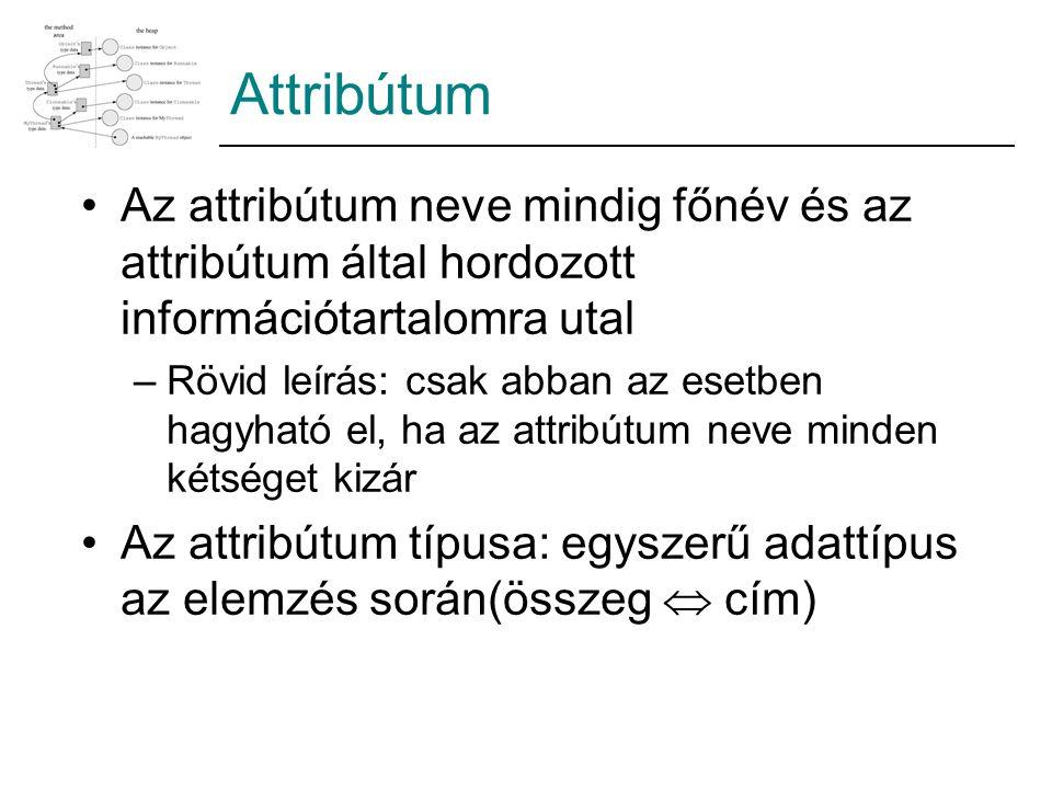 Attribútum Az attribútum neve mindig főnév és az attribútum által hordozott információtartalomra utal.