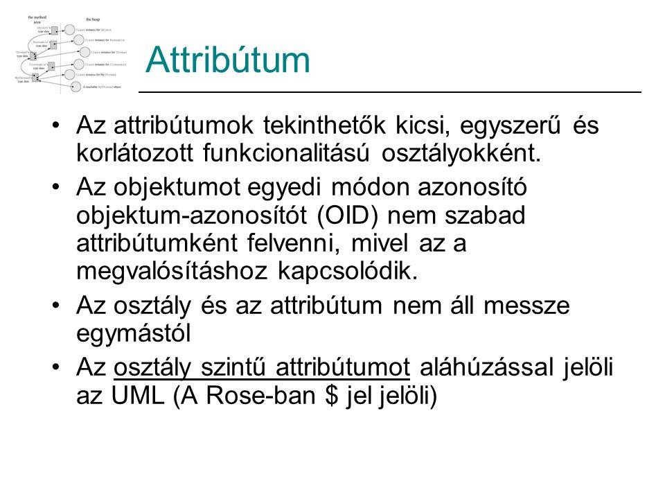 Attribútum Az attribútumok tekinthetők kicsi, egyszerű és korlátozott funkcionalitású osztályokként.