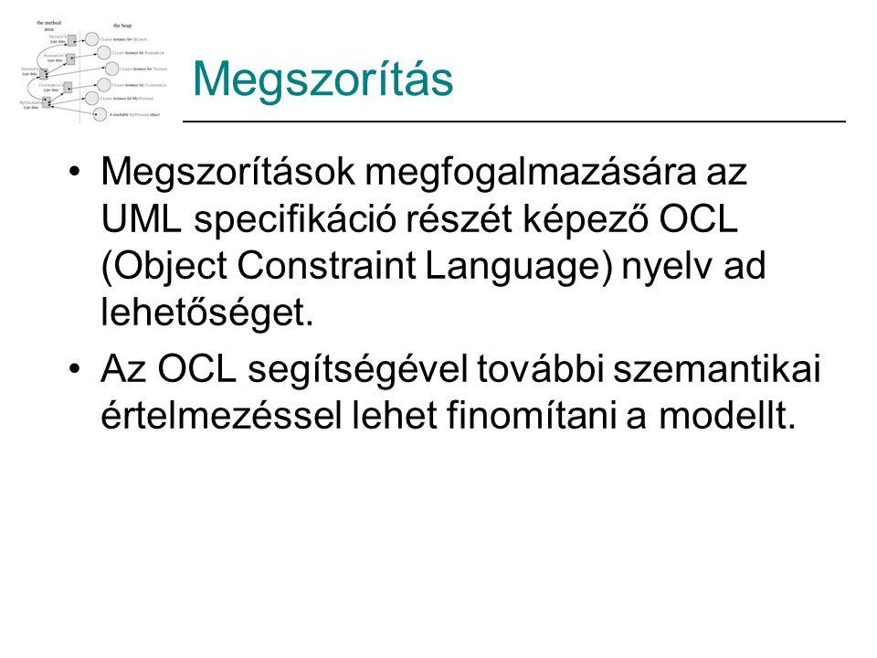 Megszorítás Megszorítások megfogalmazására az UML specifikáció részét képező OCL (Object Constraint Language) nyelv ad lehetőséget.
