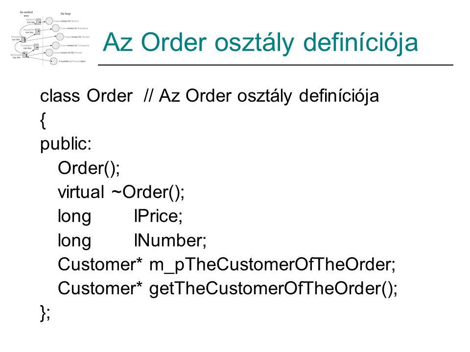 Az Order osztály definíciója