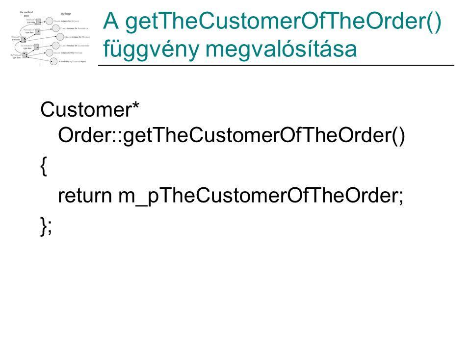 A getTheCustomerOfTheOrder() függvény megvalósítása