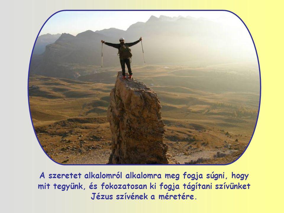 A szeretet alkalomról alkalomra meg fogja súgni, hogy mit tegyünk, és fokozatosan ki fogja tágítani szívünket Jézus szívének a méretére.