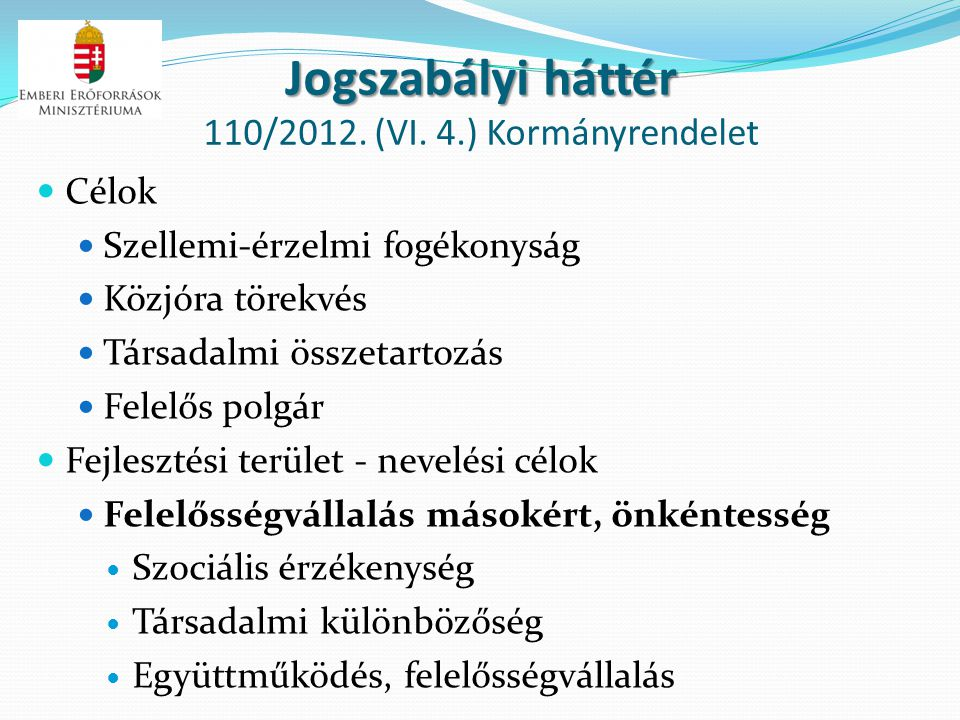 Jogszabályi háttér 110/2012. (VI. 4.) Kormányrendelet
