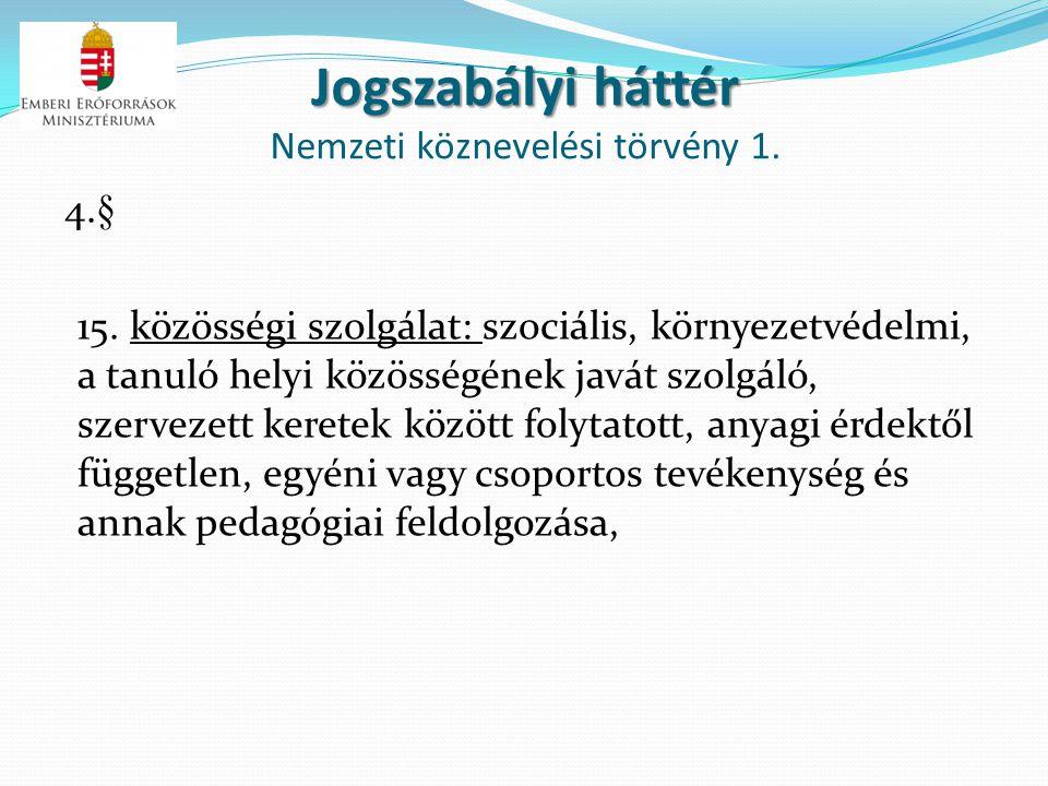 Jogszabályi háttér Nemzeti köznevelési törvény 1.