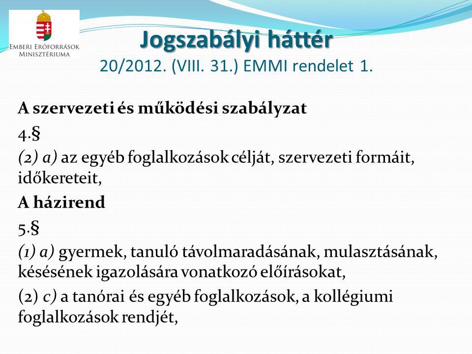 Jogszabályi háttér 20/2012. (VIII. 31.) EMMI rendelet 1.