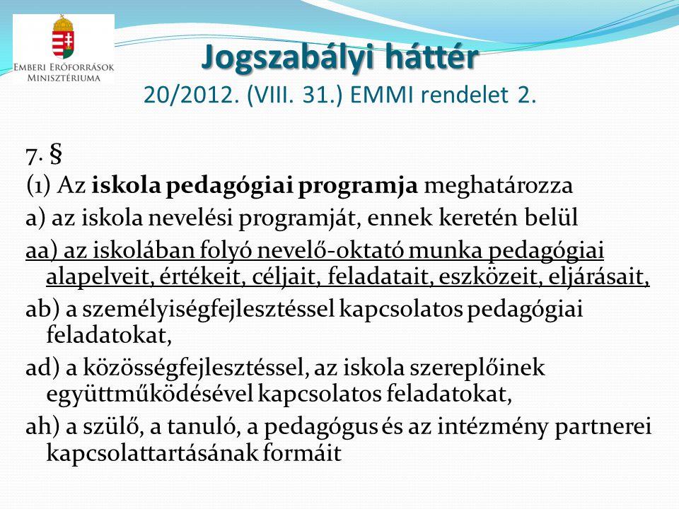 Jogszabályi háttér 20/2012. (VIII. 31.) EMMI rendelet 2.