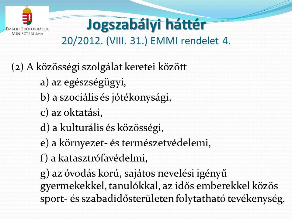 Jogszabályi háttér 20/2012. (VIII. 31.) EMMI rendelet 4.