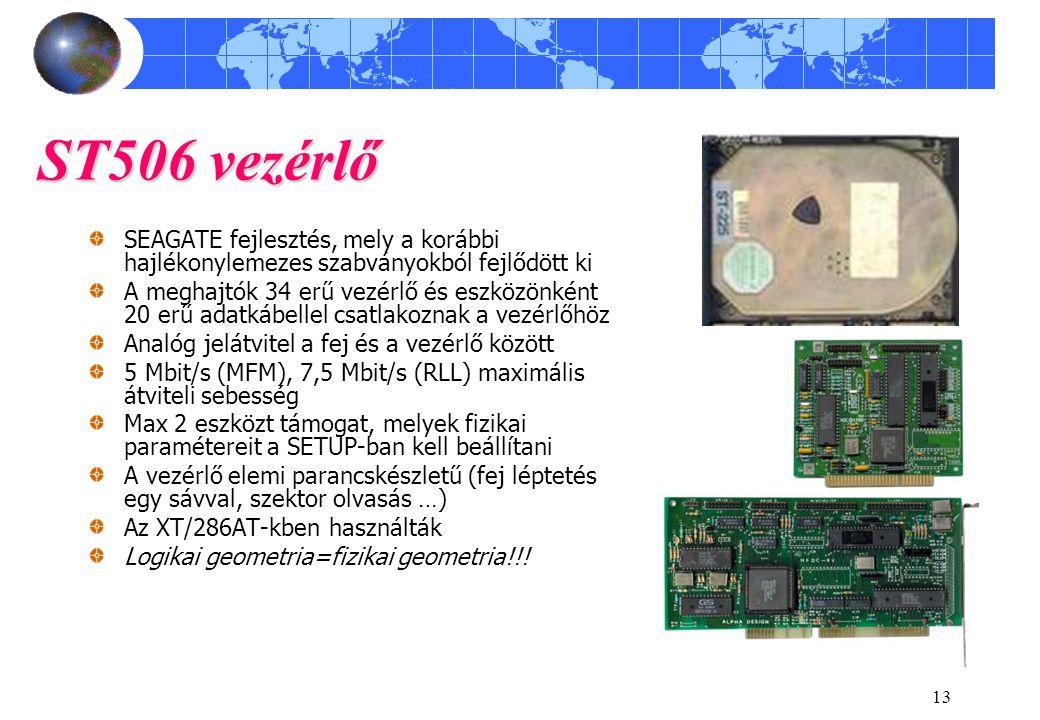 ST506 vezérlő SEAGATE fejlesztés, mely a korábbi hajlékonylemezes szabványokból fejlődött ki.