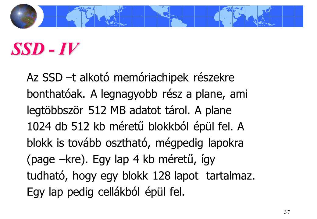 SSD - IV Az SSD –t alkotó memóriachipek részekre