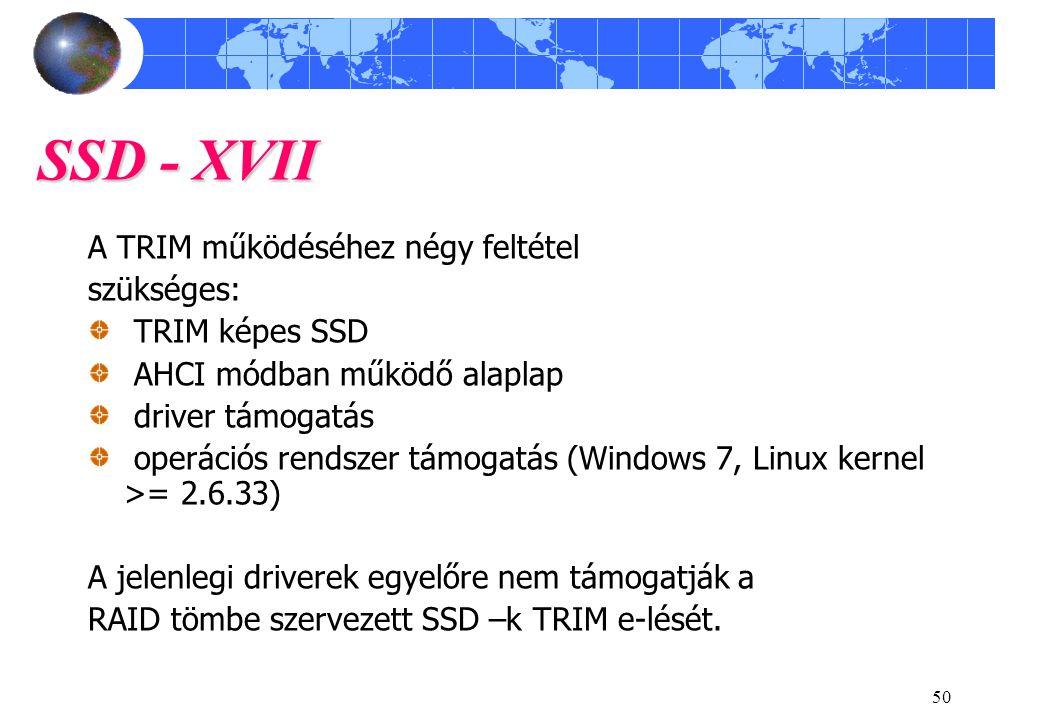 SSD - XVII A TRIM működéséhez négy feltétel szükséges: TRIM képes SSD
