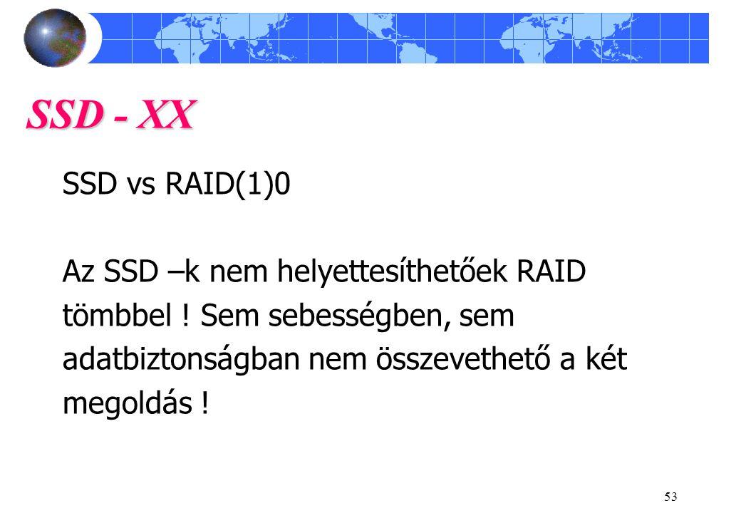 SSD - XX SSD vs RAID(1)0 Az SSD –k nem helyettesíthetőek RAID