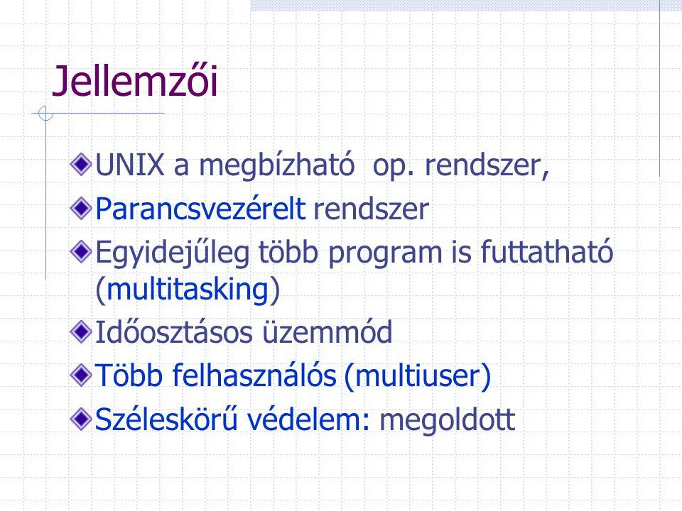 Jellemzői UNIX a megbízható op. rendszer, Parancsvezérelt rendszer