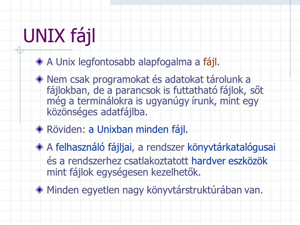 UNIX fájl A Unix legfontosabb alapfogalma a fájl.
