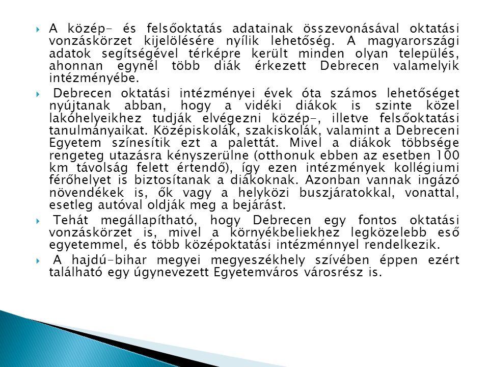 A közép- és felsőoktatás adatainak összevonásával oktatási vonzáskörzet kijelölésére nyílik lehetőség. A magyarországi adatok segítségével térképre került minden olyan település, ahonnan egynél több diák érkezett Debrecen valamelyik intézményébe.
