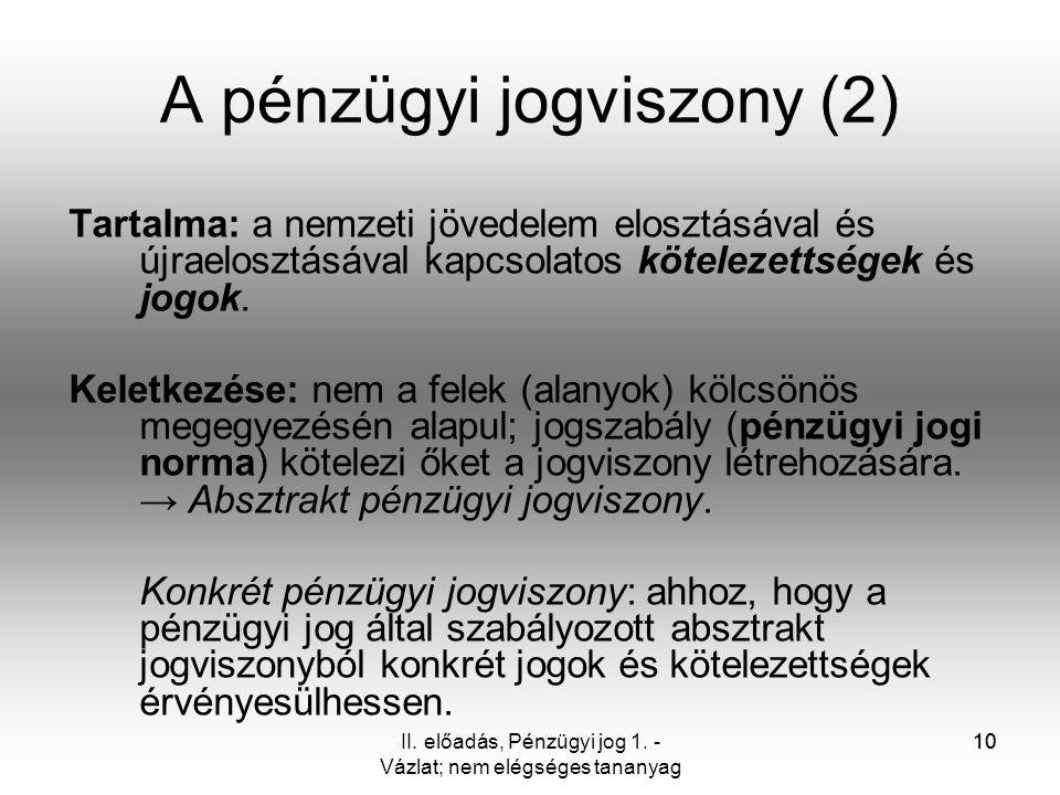 A pénzügyi jogviszony (2)