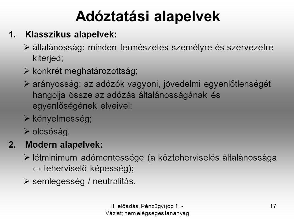 II. előadás, Pénzügyi jog 1. - Vázlat; nem elégséges tananyag