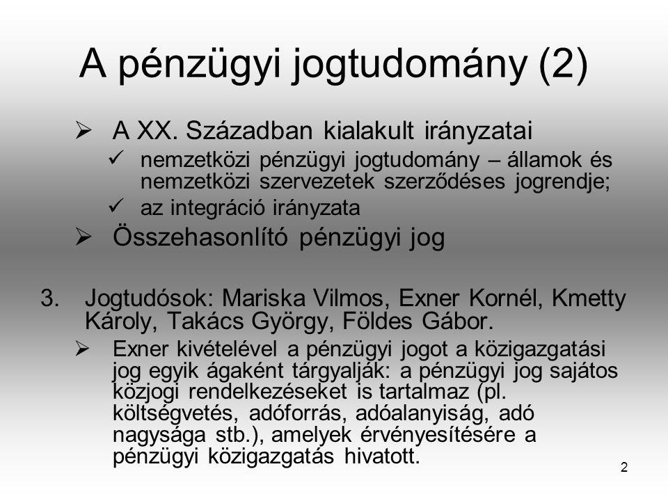 A pénzügyi jogtudomány (2)
