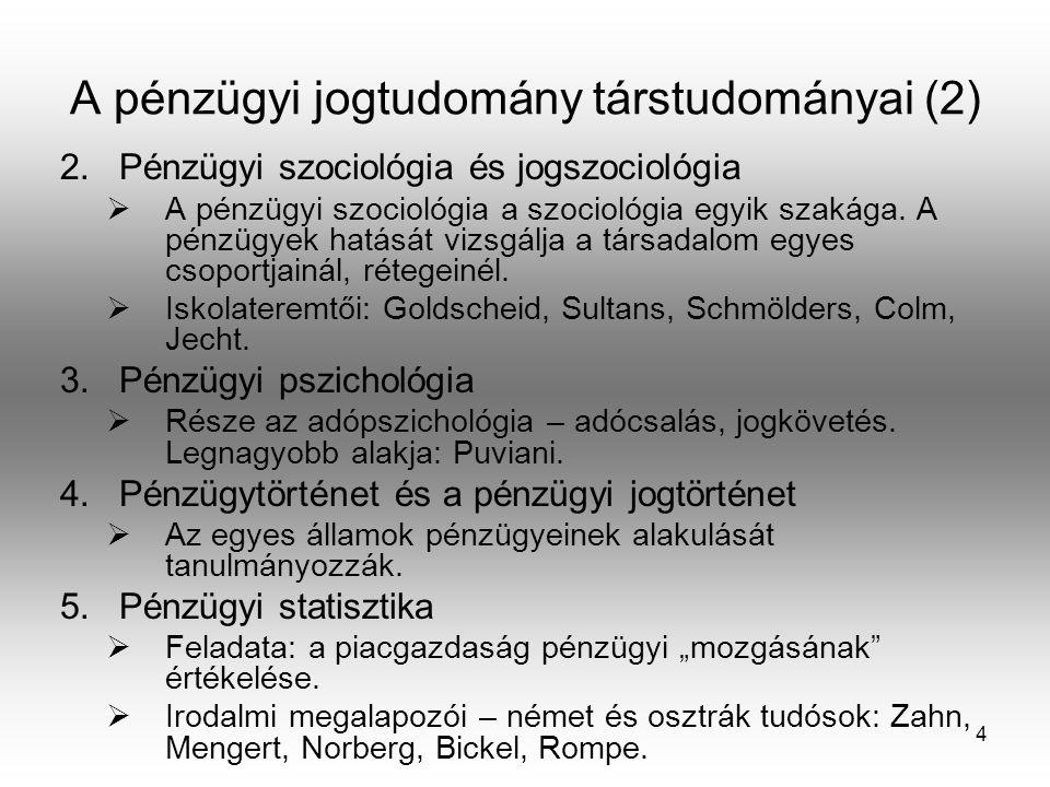 A pénzügyi jogtudomány társtudományai (2)