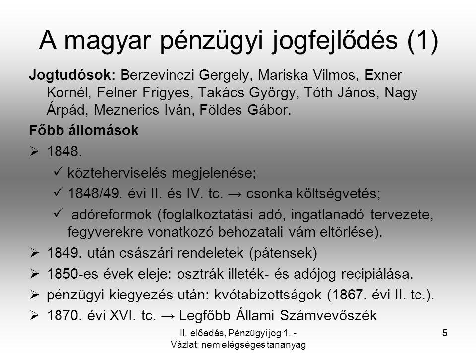 A magyar pénzügyi jogfejlődés (1)
