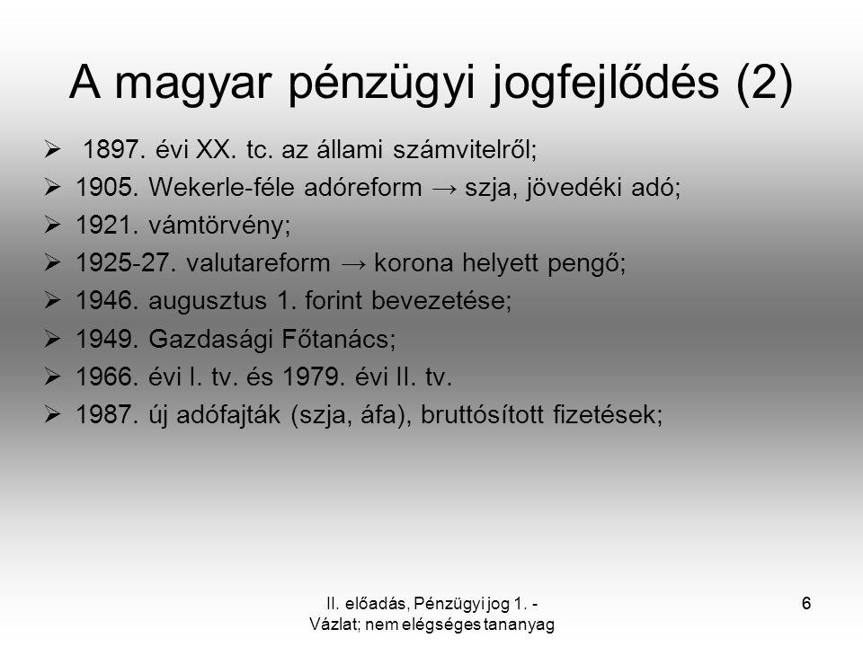 A magyar pénzügyi jogfejlődés (2)