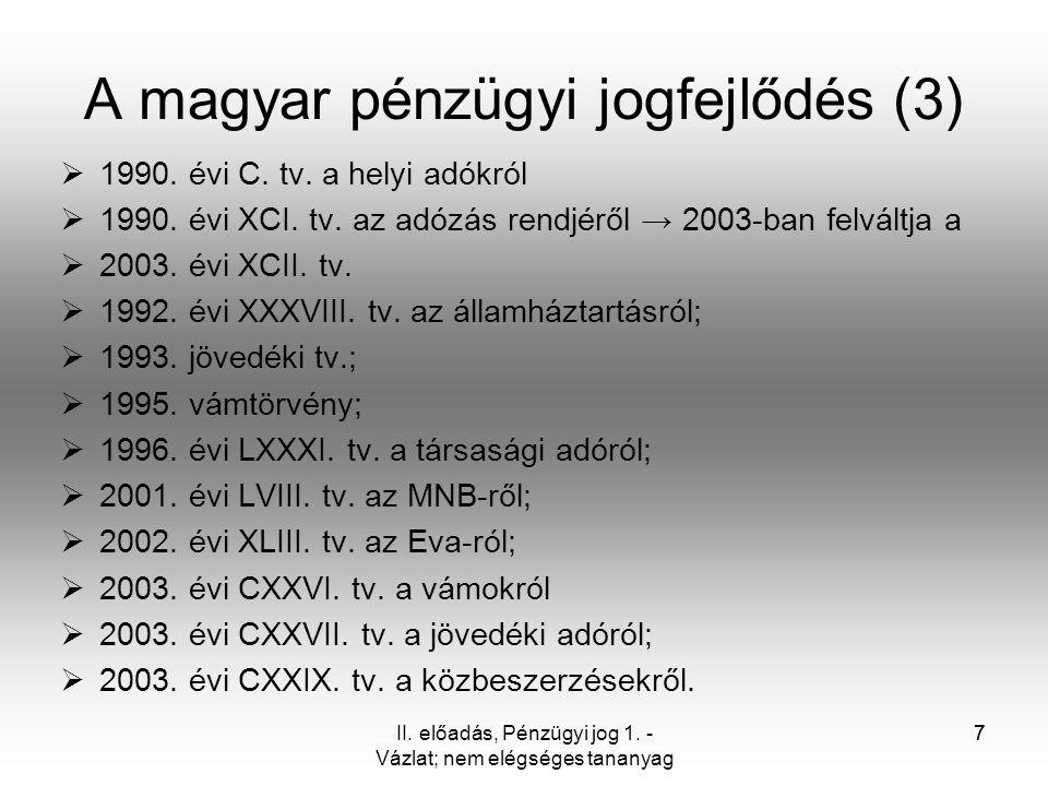 A magyar pénzügyi jogfejlődés (3)