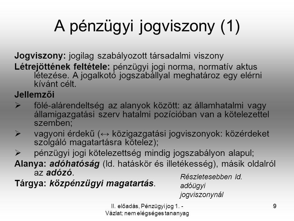 A pénzügyi jogviszony (1)