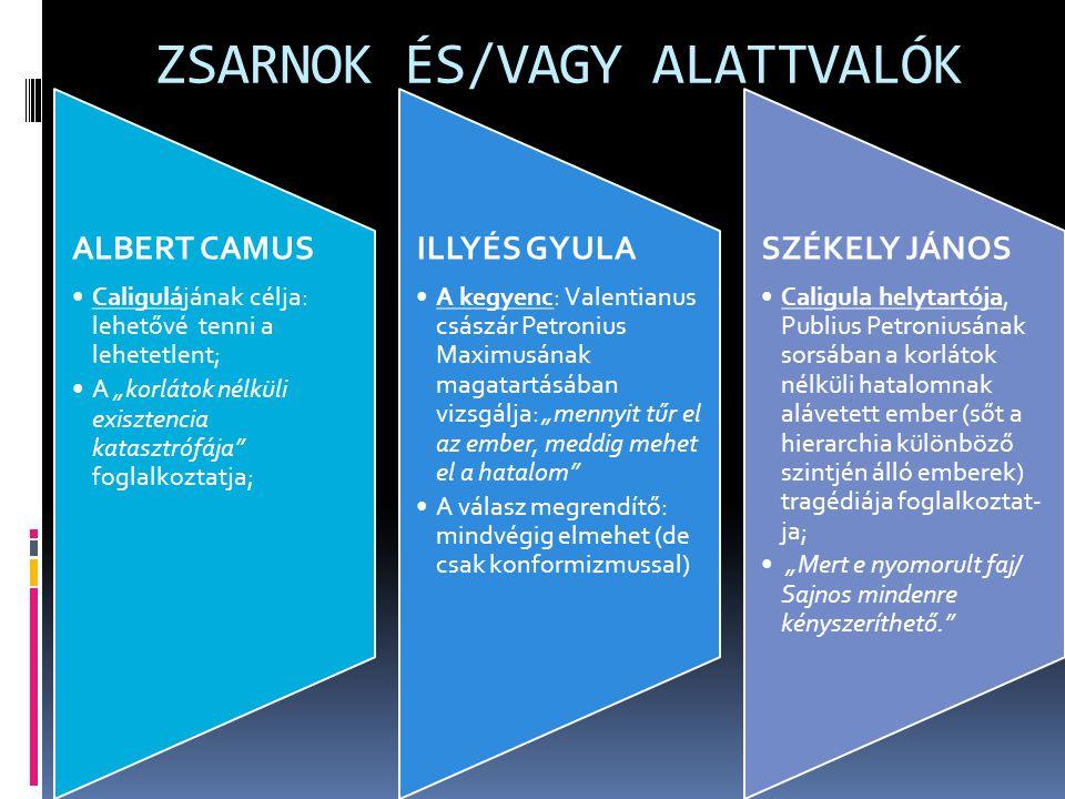 ZSARNOK ÉS/VAGY ALATTVALÓK