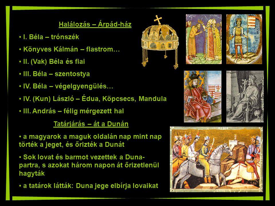 Halálozás – Árpád-ház I. Béla – trónszék. Könyves Kálmán – flastrom… II. (Vak) Béla és fiai. III. Béla – szentostya.
