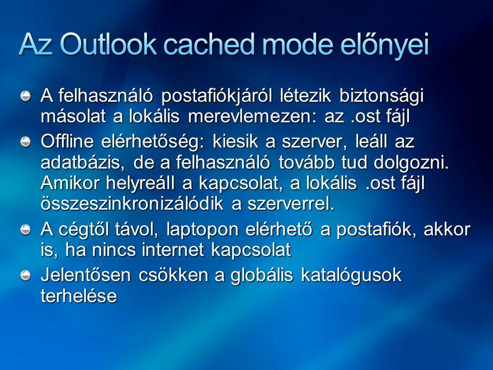 Az Outlook cached mode előnyei