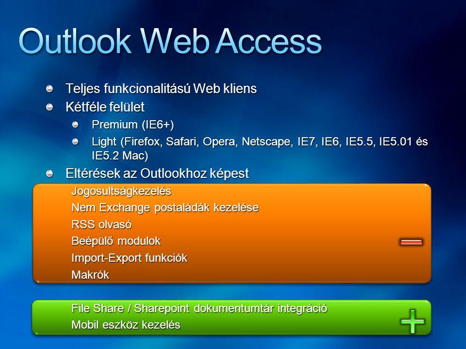 Outlook Web Access Teljes funkcionalitású Web kliens Kétféle felület