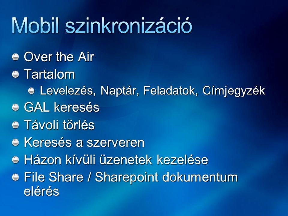 Mobil szinkronizáció Over the Air Tartalom GAL keresés Távoli törlés