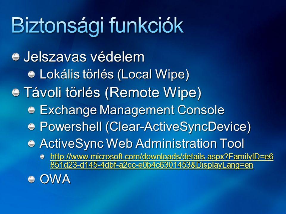 Biztonsági funkciók Jelszavas védelem Távoli törlés (Remote Wipe)