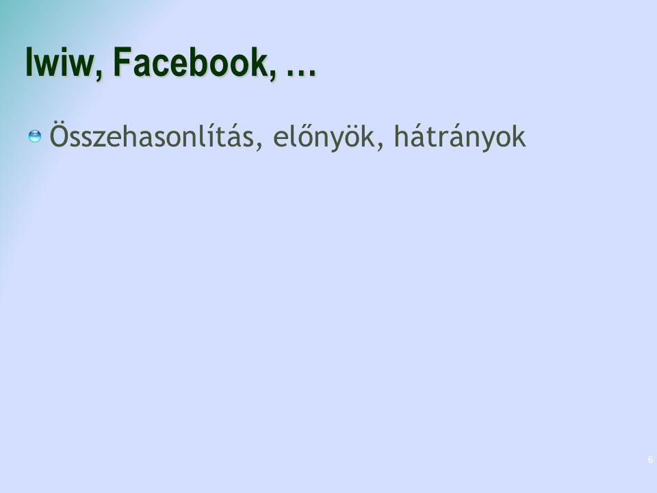 Iwiw, Facebook, … Összehasonlítás, előnyök, hátrányok